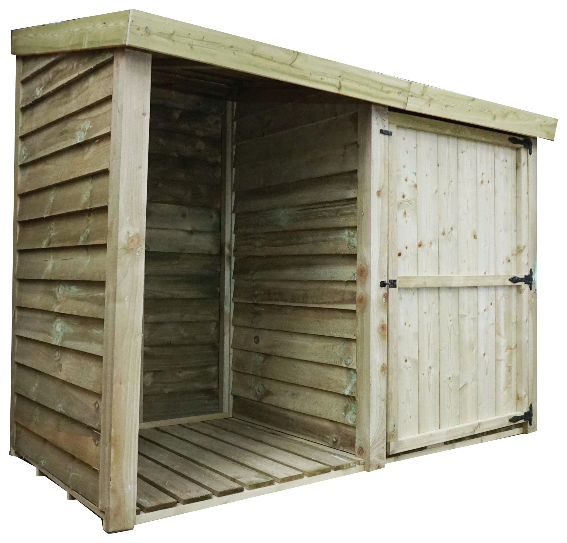Image of Mercia Garden Products 3ft x 7ft Pressure Treated Log Store.