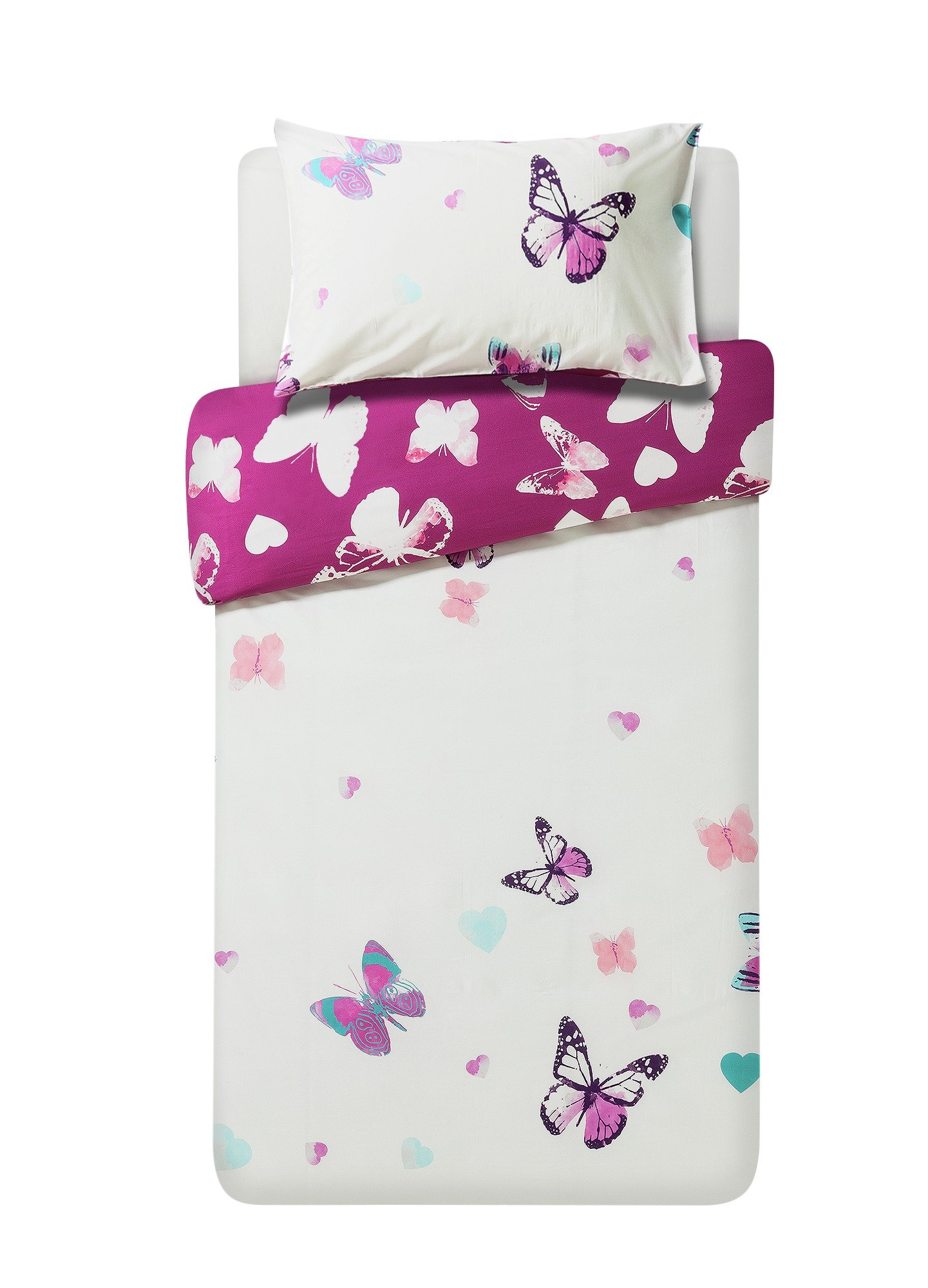 argos home amelie pink butterfly bedding set single. Black Bedroom Furniture Sets. Home Design Ideas
