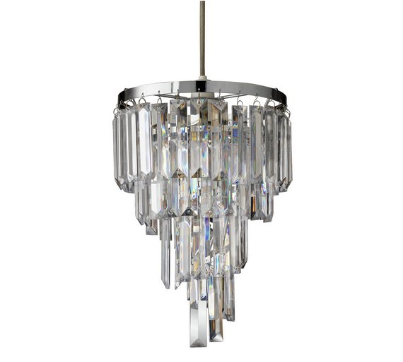buy argos home spiral acrylic chrome pendant light shade lamp