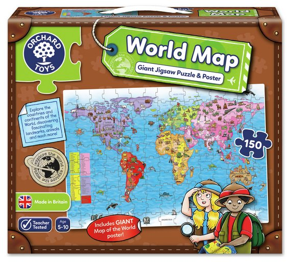 Buy orchard toys world map puzzle and poster puzzles and jigsaws orchard toys world map puzzle and poster gumiabroncs Choice Image