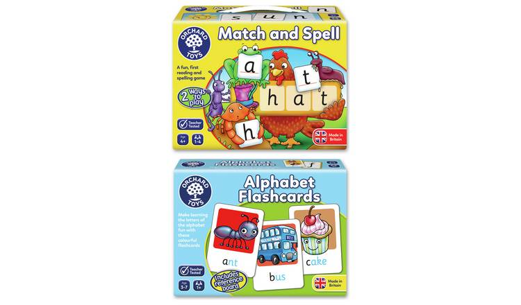 Orchard Toys Match & Spell and Alpha Flashcards Bundle.