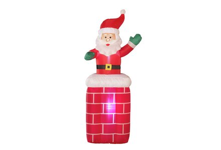 Image of a HOME Inflatable Santa on Chimney.