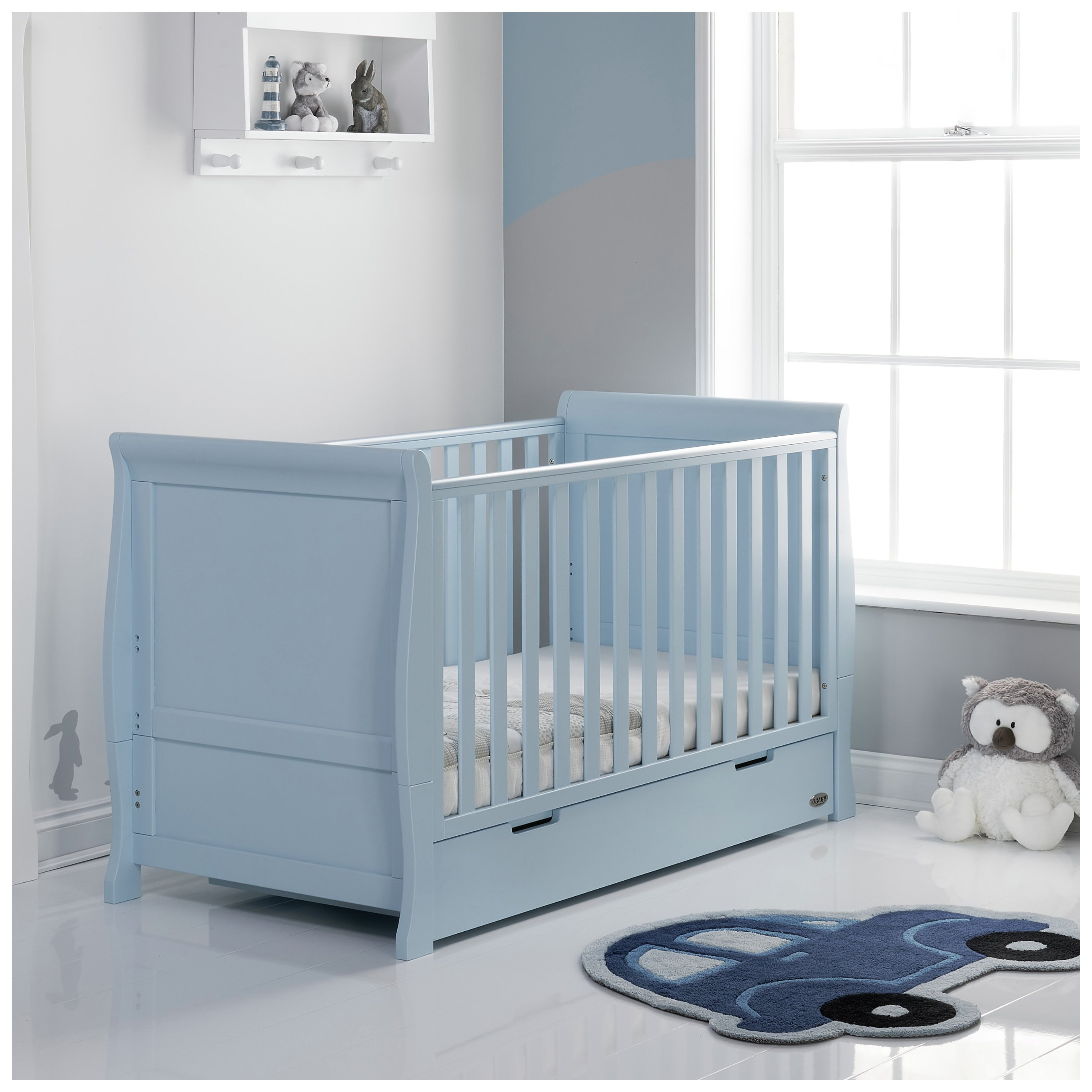 obaby stamford bonbon blue cot bed review. Black Bedroom Furniture Sets. Home Design Ideas