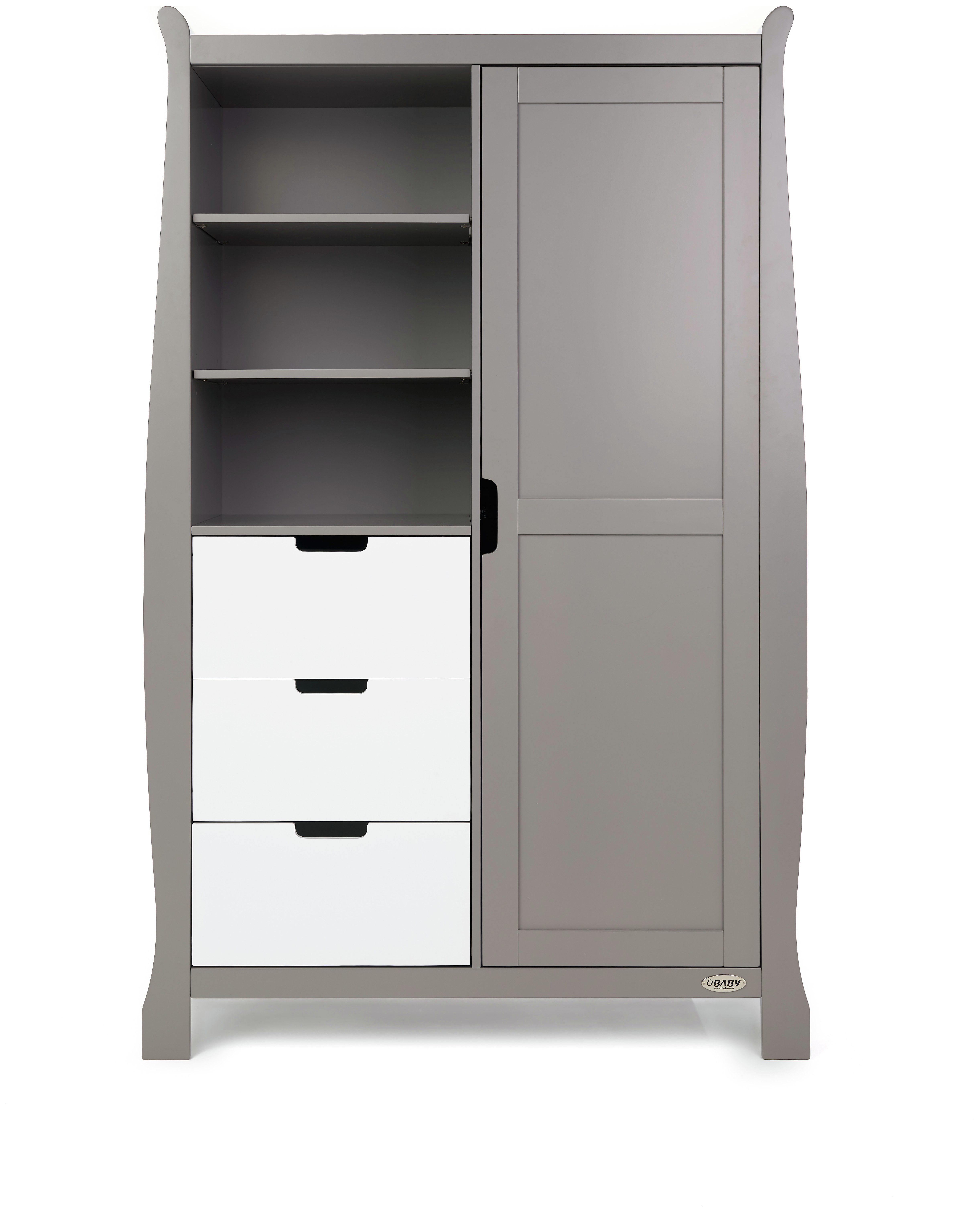 Obaby Stamford Sleigh Double Wardrobe - Taupe Grey & White