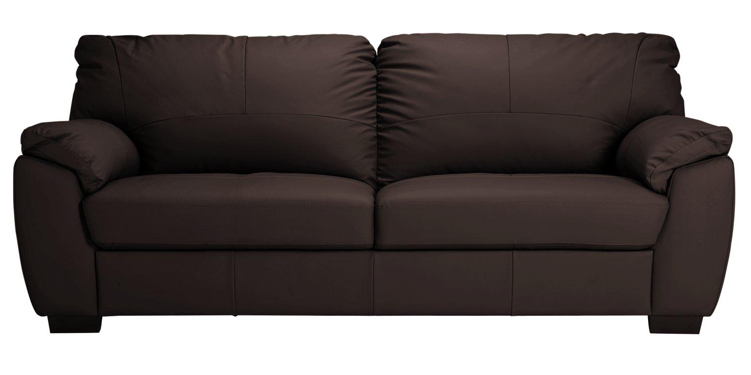 Argos Home Milano 4 Seater Leather Sofa - Chocolate