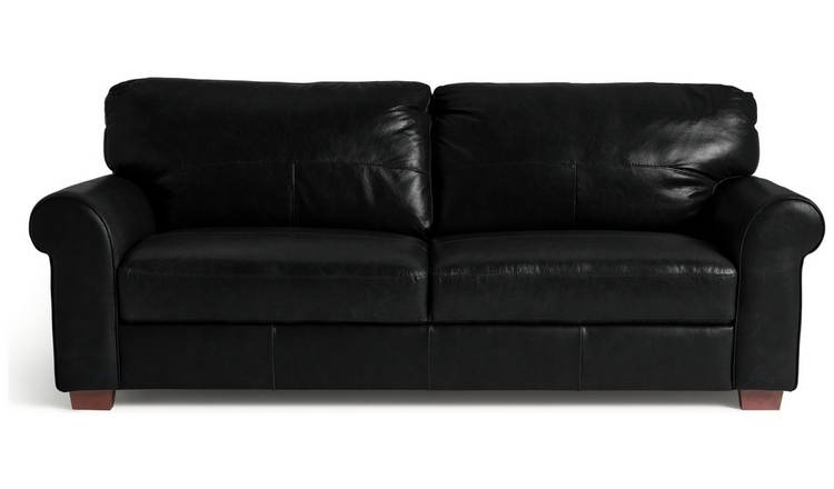 Habitat Salisbury 4 Seater Leather Sofa - Black