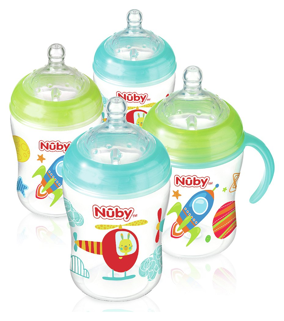 Image of Nuby's Natural Touch??? 270ml Bottles 4 Pack - Boy.