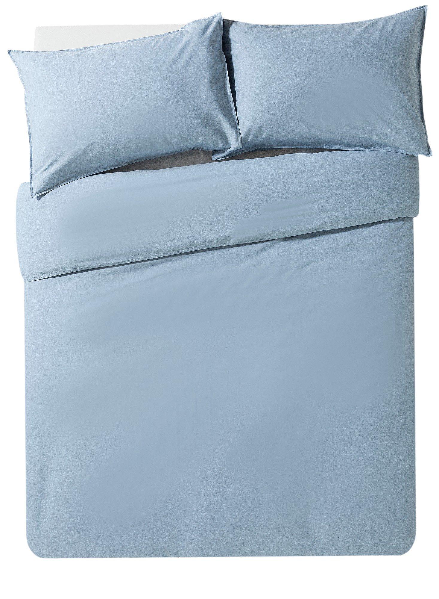 Hygena Blue Washed Cotton Bedding Set - Superking.