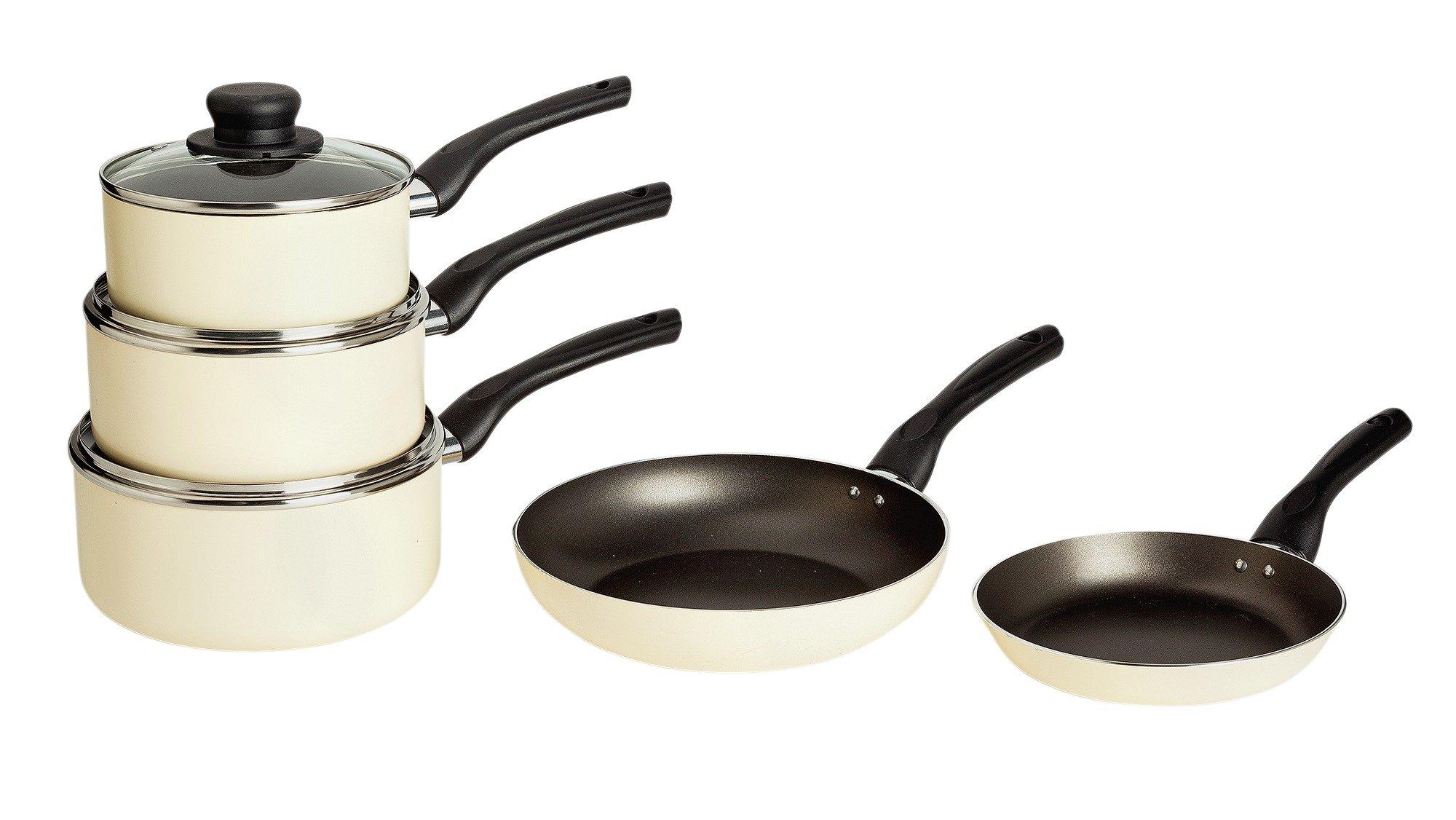 Argos Home Aluminium Non-Stick 5 Piece Pan Set - Cream