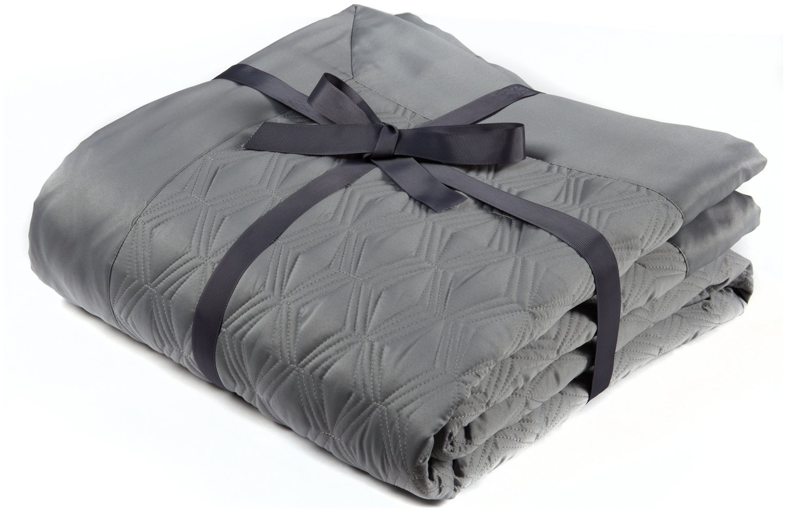 julian charles blossom quilted throw  silver.