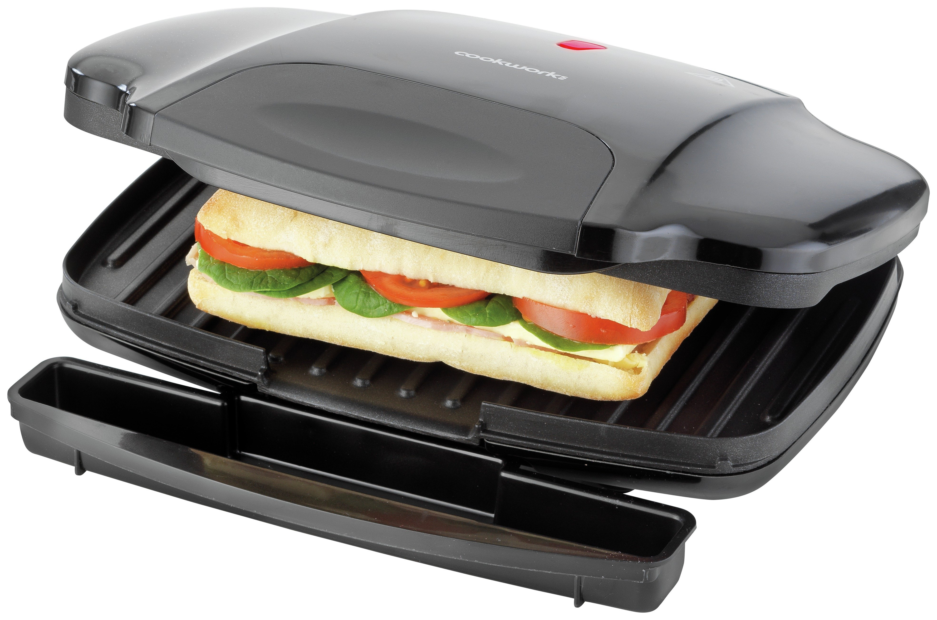 Image of Cookworks 2 Portion Panini Grill - Black