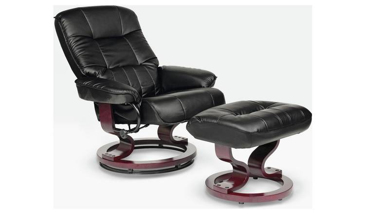 Argos Home Santos Recliner Chair and Footstool - Black