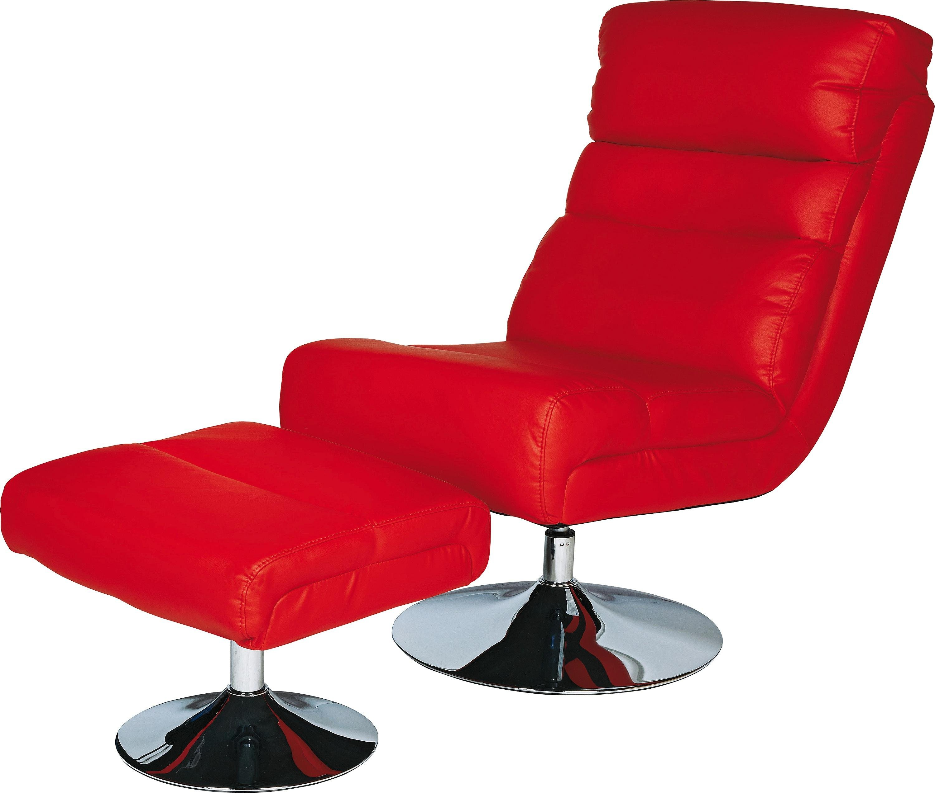 home costa leather effect swivel chair and footstool red