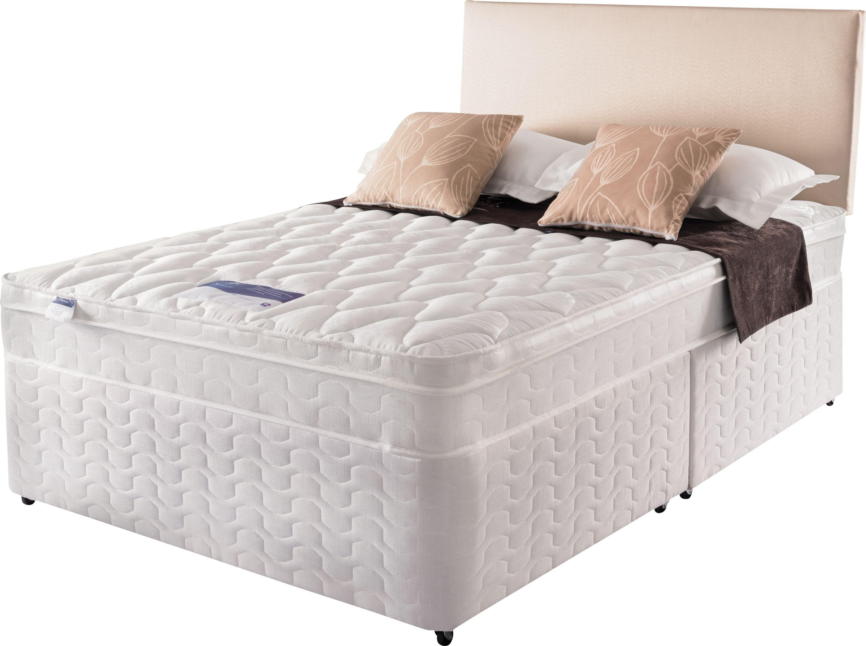 Silentnight auckland luxury small double divan bed 4 drw for Small double divan with mattress