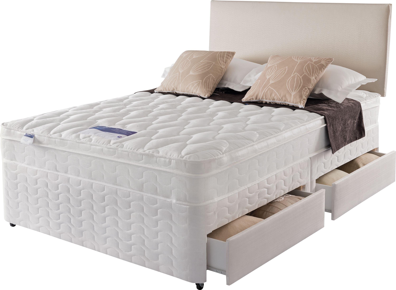 Silentnight auckland luxury double divan bed 4 drawer for Double divan bed with four drawers