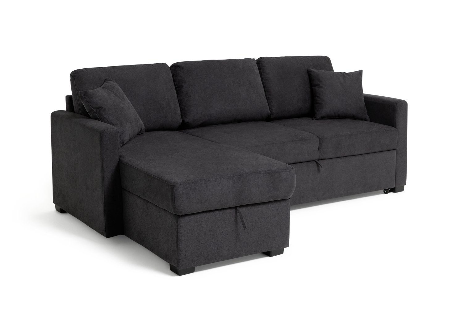 Image of HOME - Reagan - Fabric Left Corner Chaise Sofa Bed - Charcoal