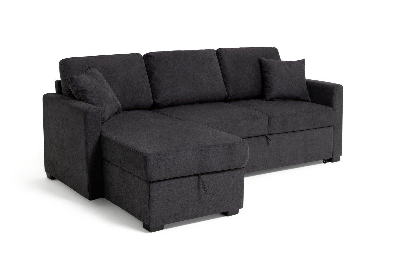 Argos Home Reagan Left Corner Fabric Sofa Bed - Charcoal