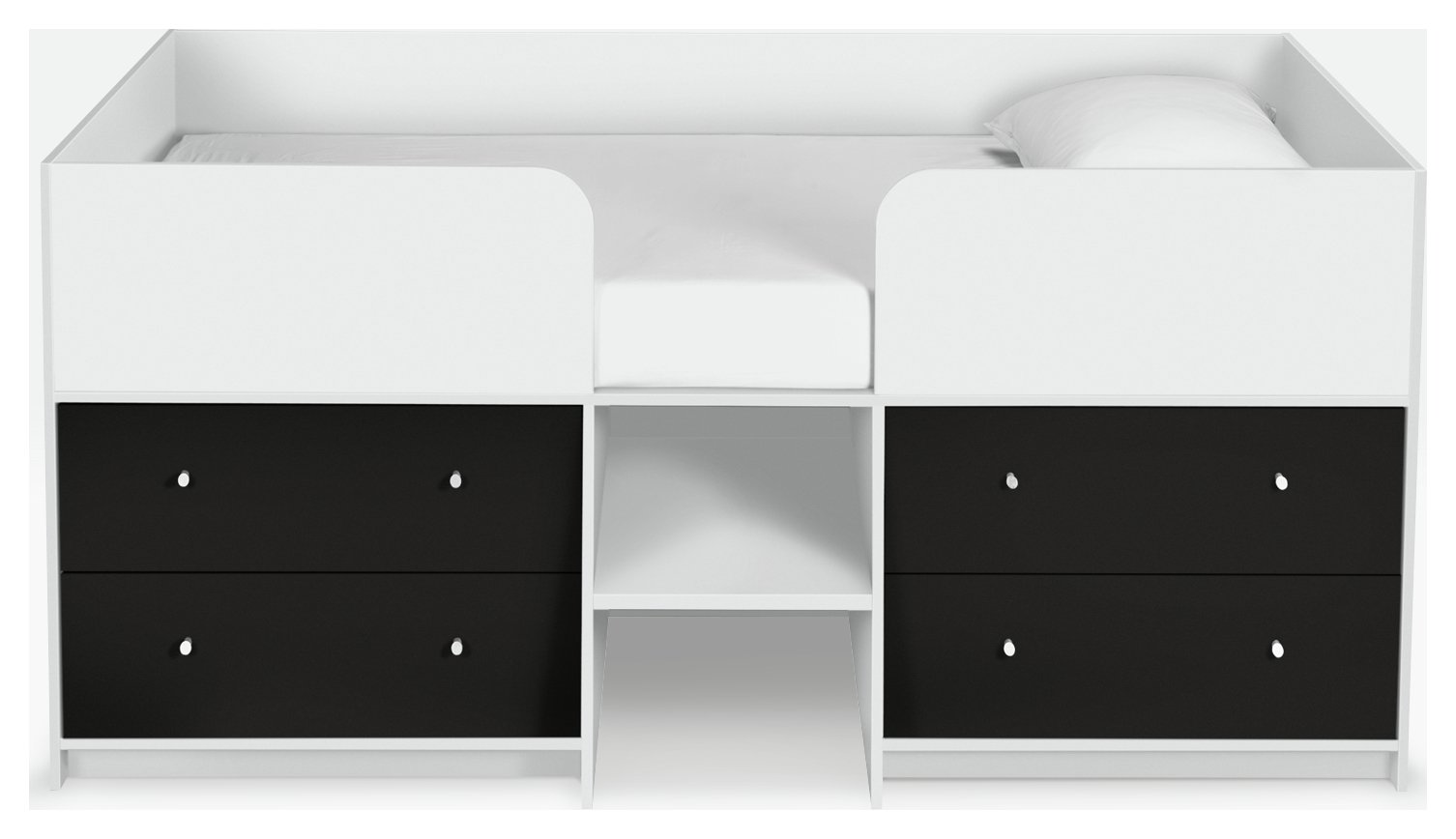 Argos Home Malibu Black & White Mid Sleeper Bed Frame