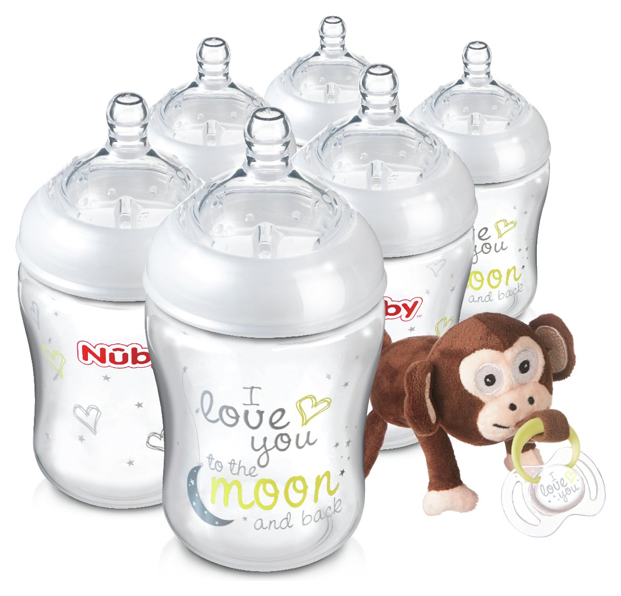 Image of Nuby's Natural Touch??? 270ml Bottles 6 Pack & Snoozie Soother