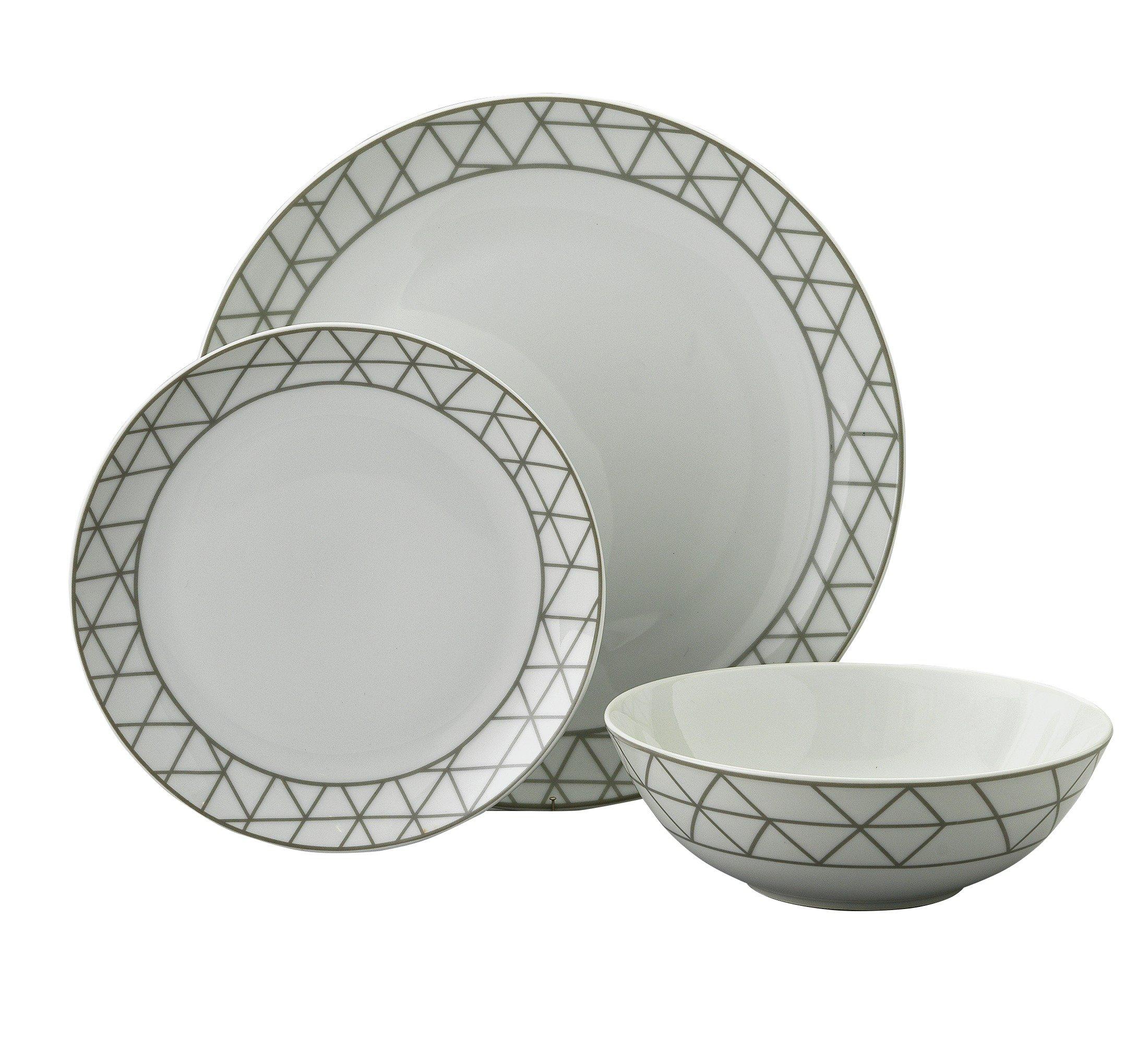 Argos Home 12 Piece Grey Geometric Porcelain Dinner Set