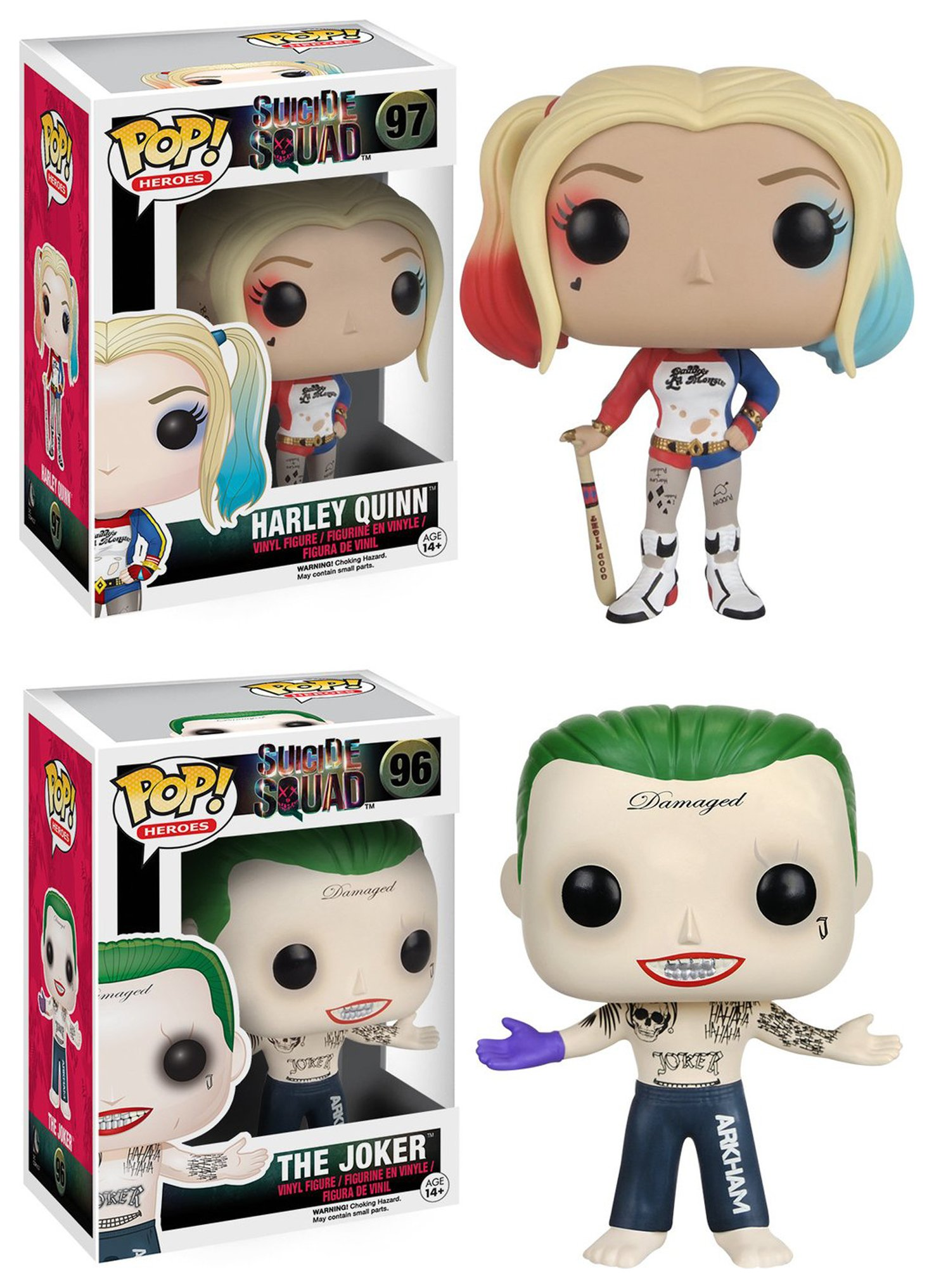Image of Pop! Vinyl Harley Quinn and Joker Suicide Squad Bobble Head