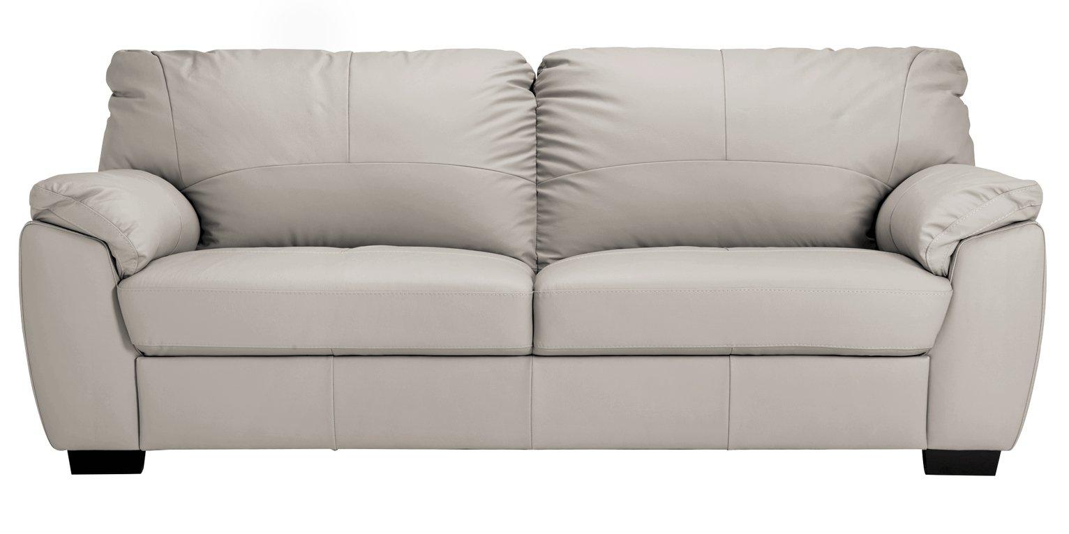 Argos Home Milano 4 Seater Leather Sofa - Light Grey
