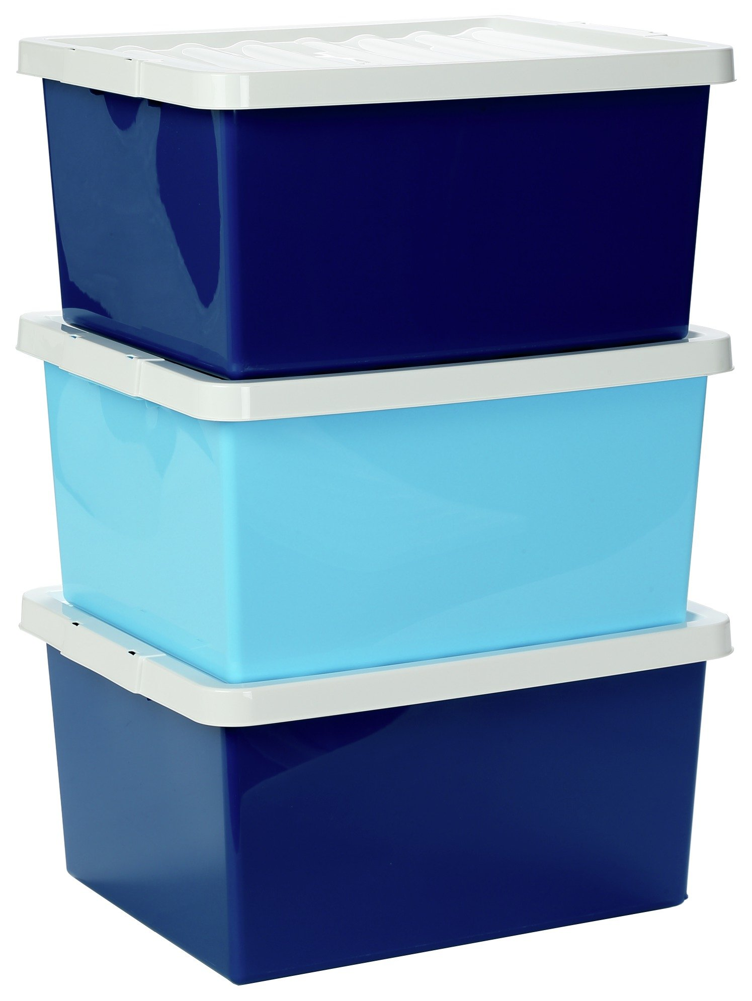 Argos Home Set Of 3 Blue Storage Boxes With Lids698/6946