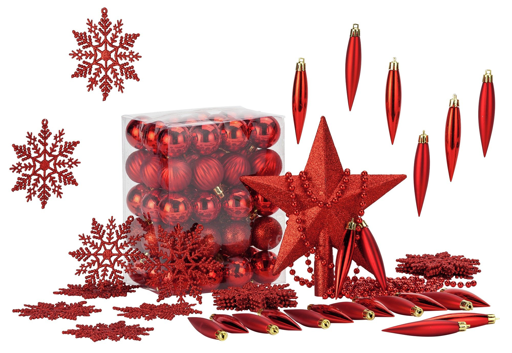 HOME - 100 Piece Christmas Decoration Pack - Red