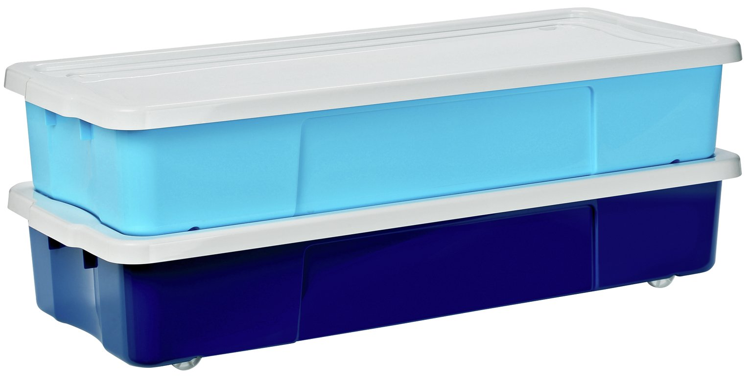 Image of HOME Pair of Underbed Storage Boxes - Blue