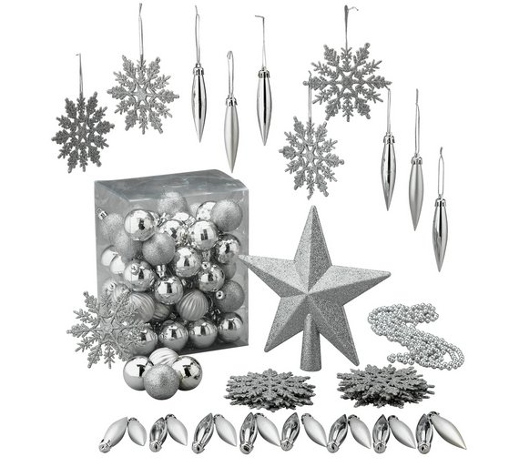 argos home 100 piece christmas decorations pack silver - Silver Christmas Decorations