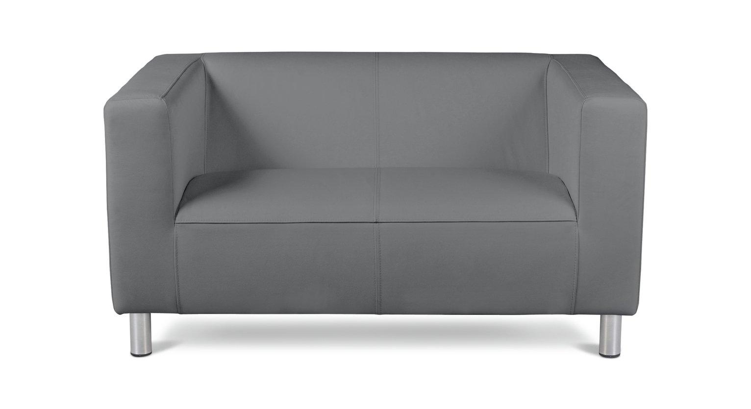 Habitat Moda Compact 2 Seater Faux Leather Sofa - Grey