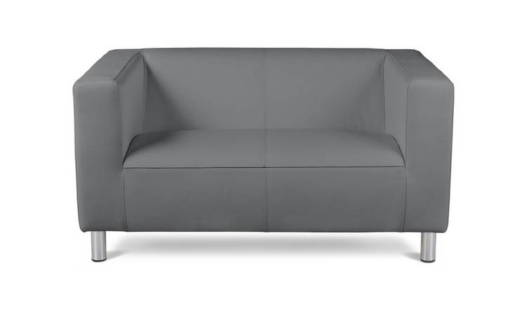 Argos Home Moda Compact 2 Seater Faux Leather Sofa - Grey