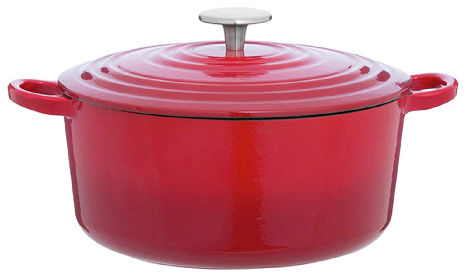 Sainsbury's Home 3.3 Litre Cast Iron Casserole Dish - Red