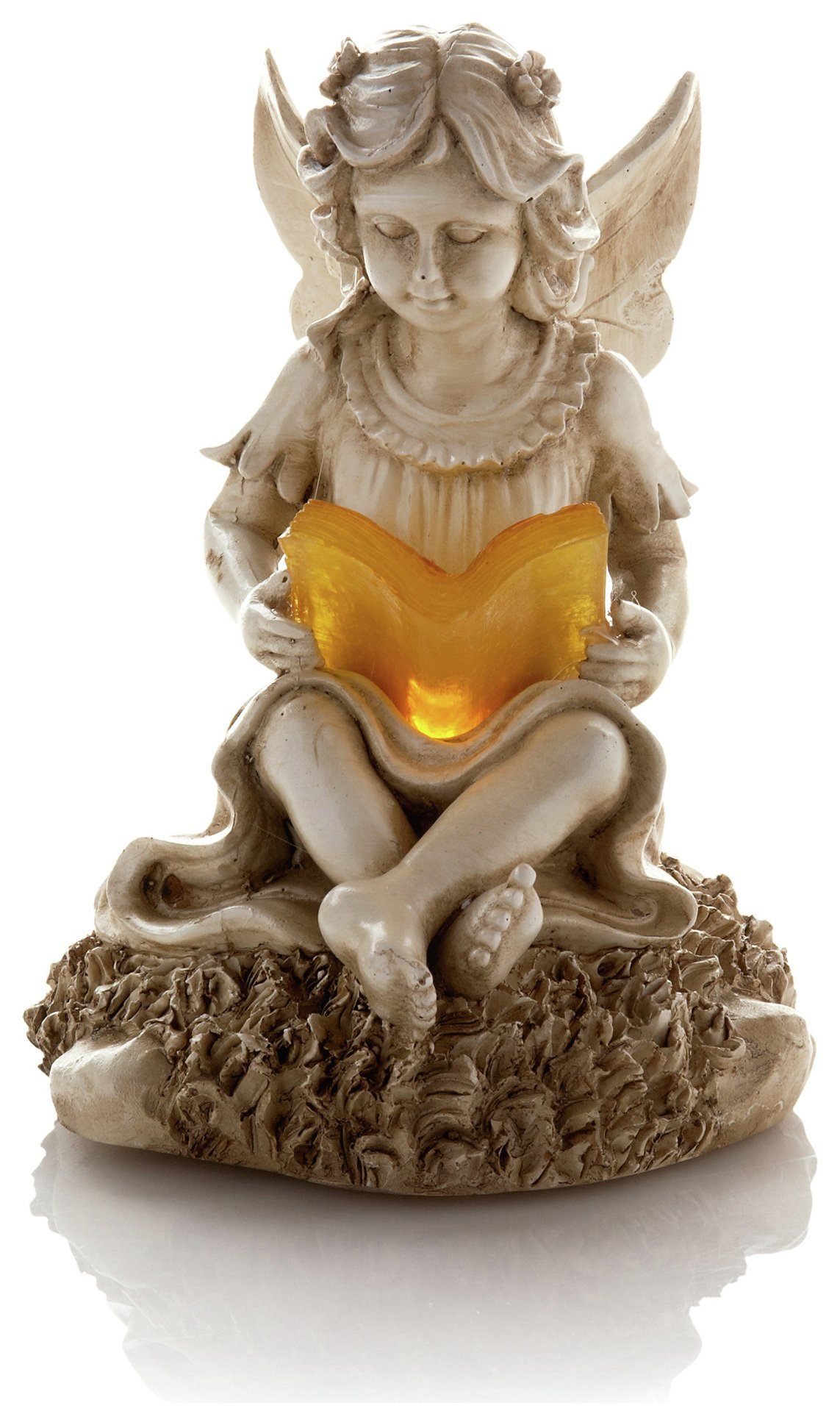 Premier Decorations Solar Reading Cherub - Marble Effect