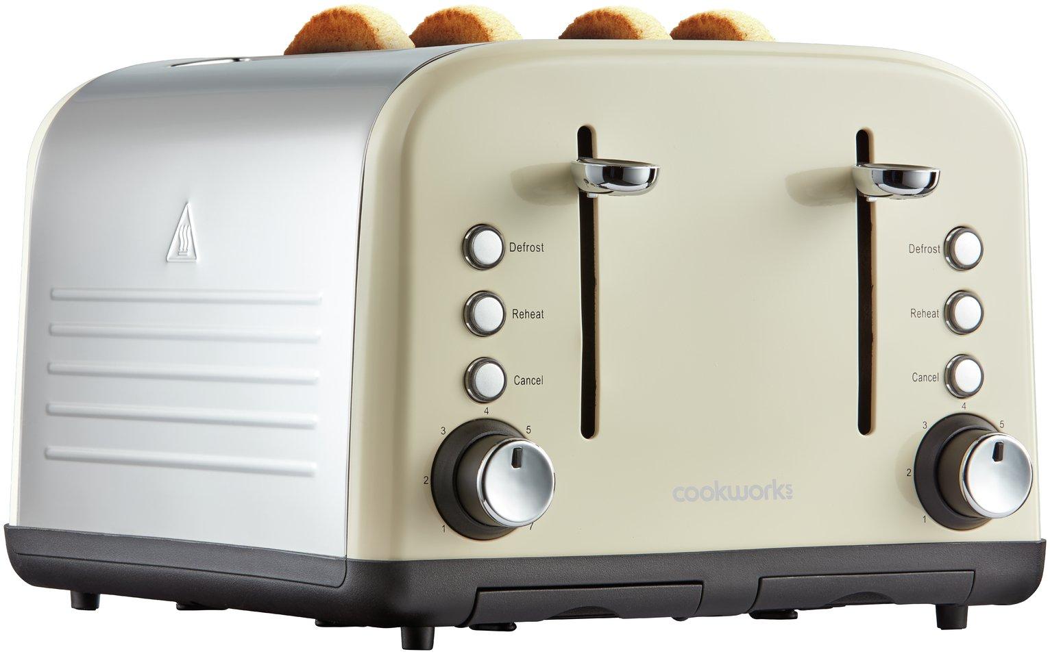 Image of Cookworks 4 Slice Toaster - Almond