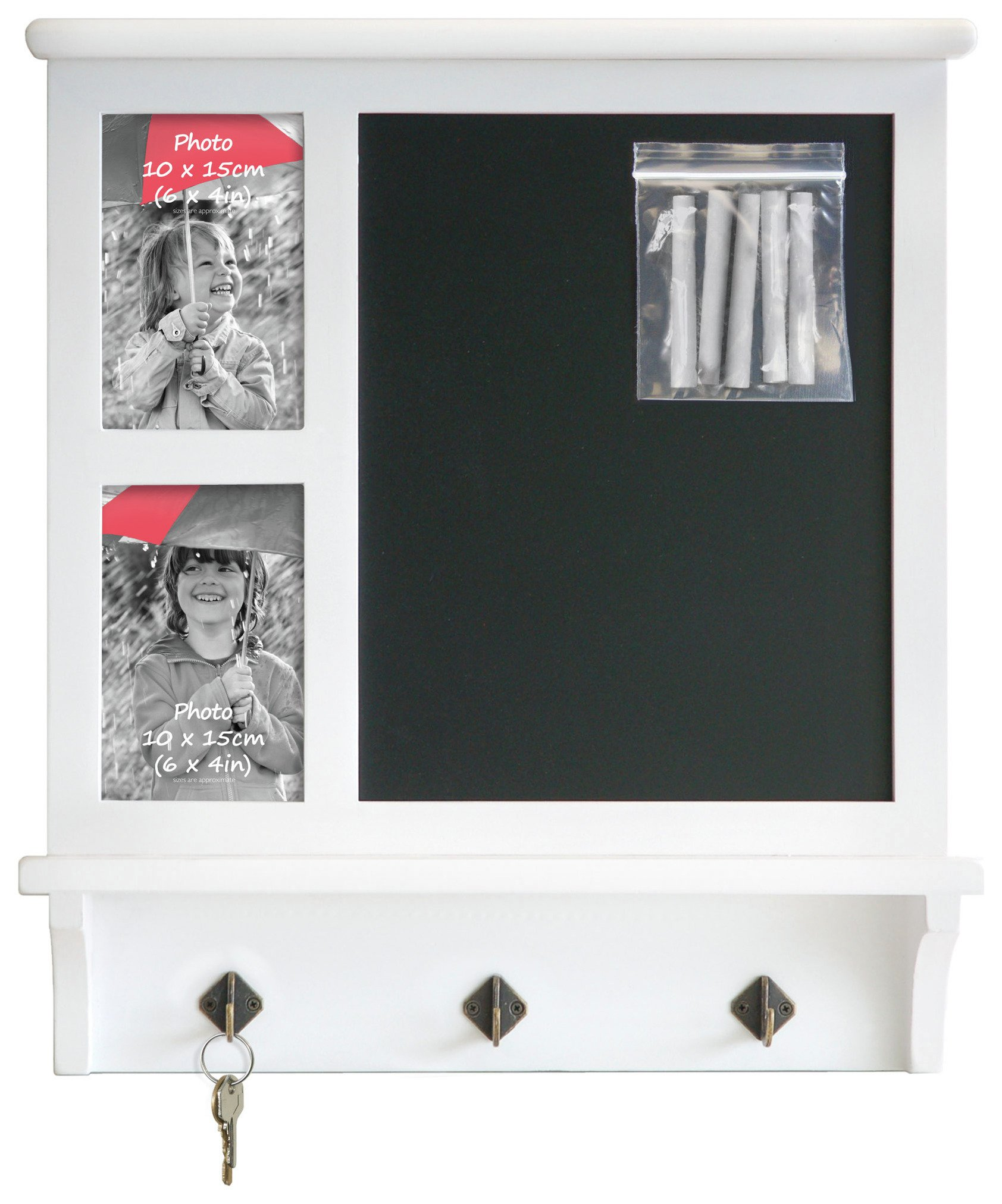 Image of Chalkboard Photo Frame & Keyhook Rack.
