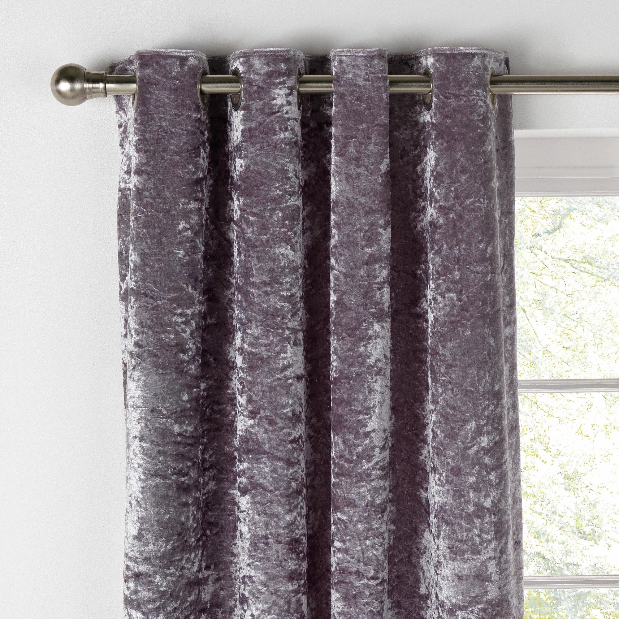 Collection Cara Velvet Lined Curtains - 168x183cm - Shadow.