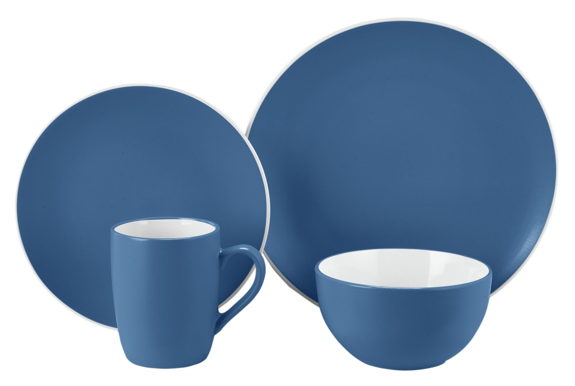 ColourMatch 12 Piece Stoneware Dinner Set - Ink Blue.