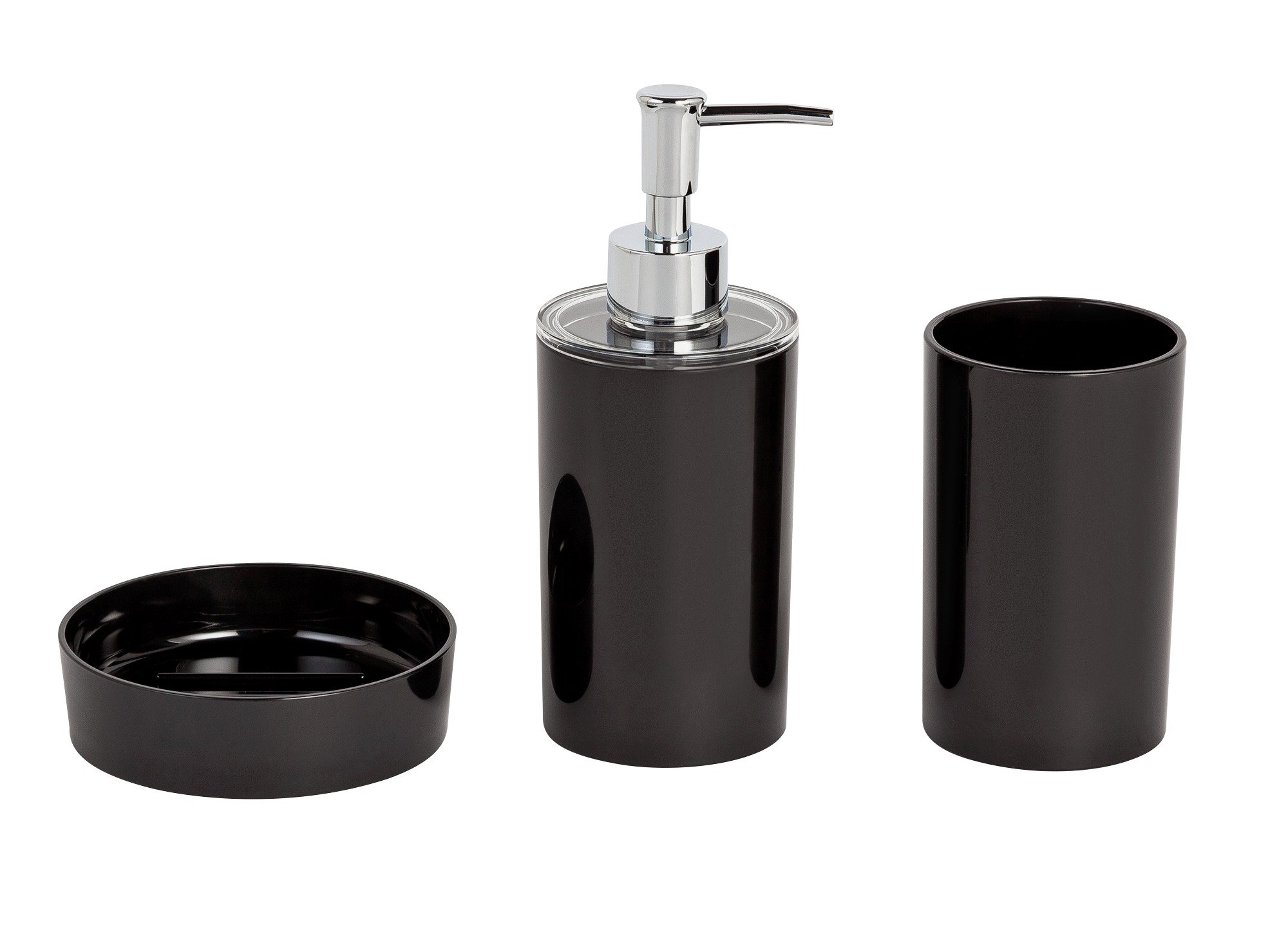 Image of ColourMatch 3 Piece Bathroom Accessory Set - Black