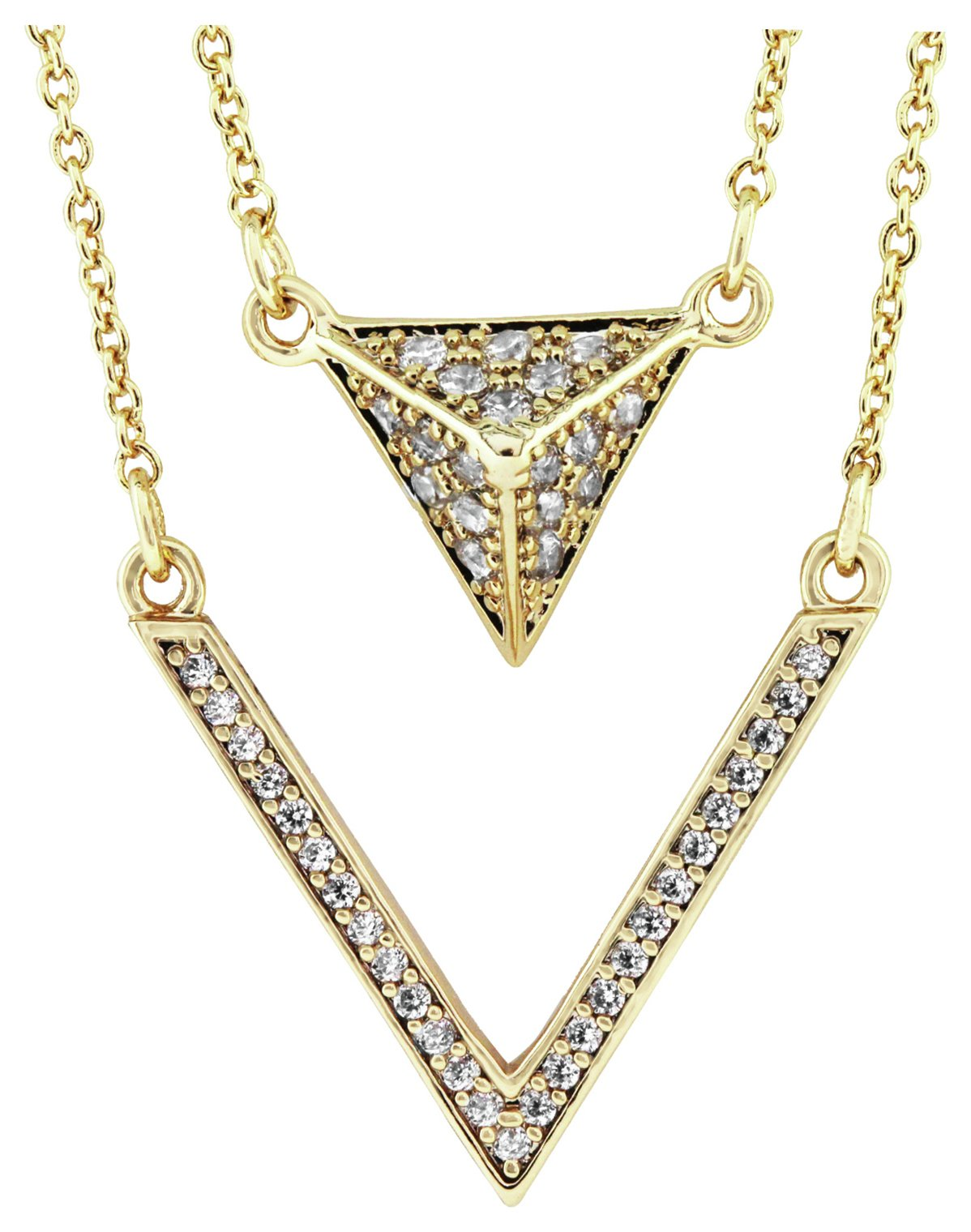 Image of Abbey Clancy Gold Colour Triangle CZ Necklace