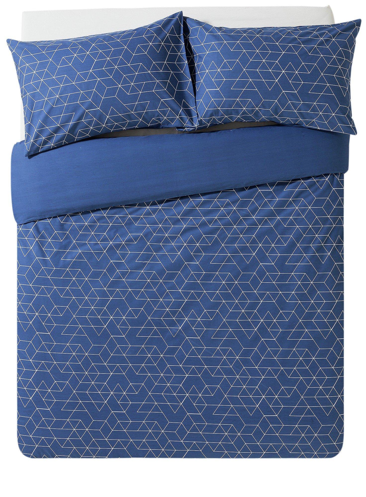 home navy geometric bedding set  double