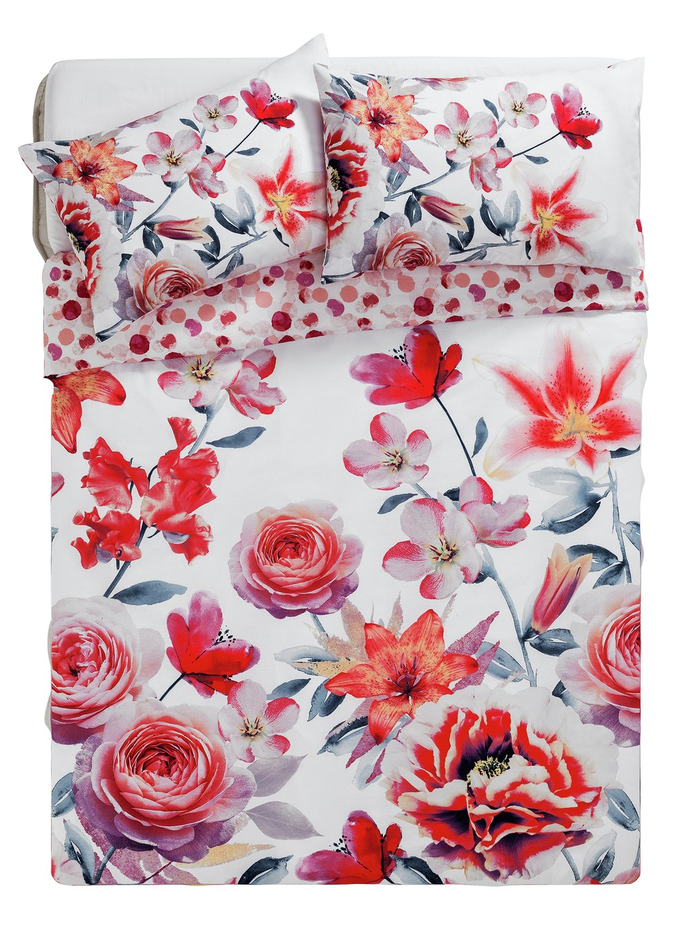 HOME Lily Graphic Floral Bedding Set - Kingsize