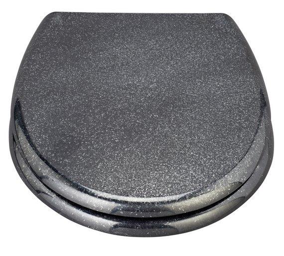 cream toilet seat soft close. HOME Black Glitter Slow Close Toilet Seat Buy  Seats Argos