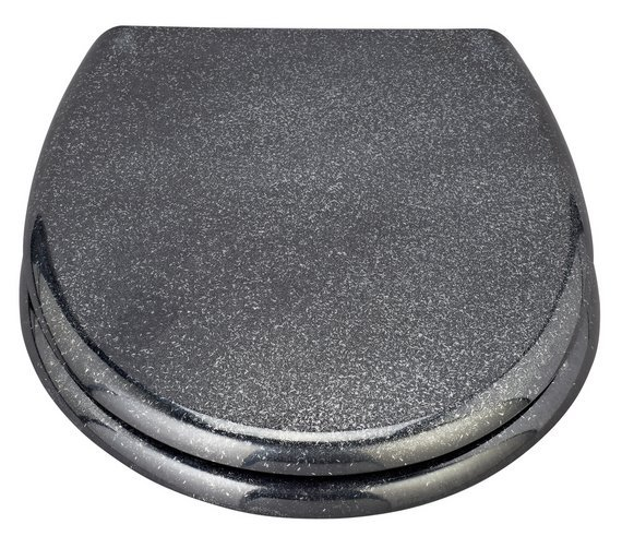 black wooden soft close toilet seat. HOME Black Glitter Slow Close Toilet Seat Buy at Argos co uk