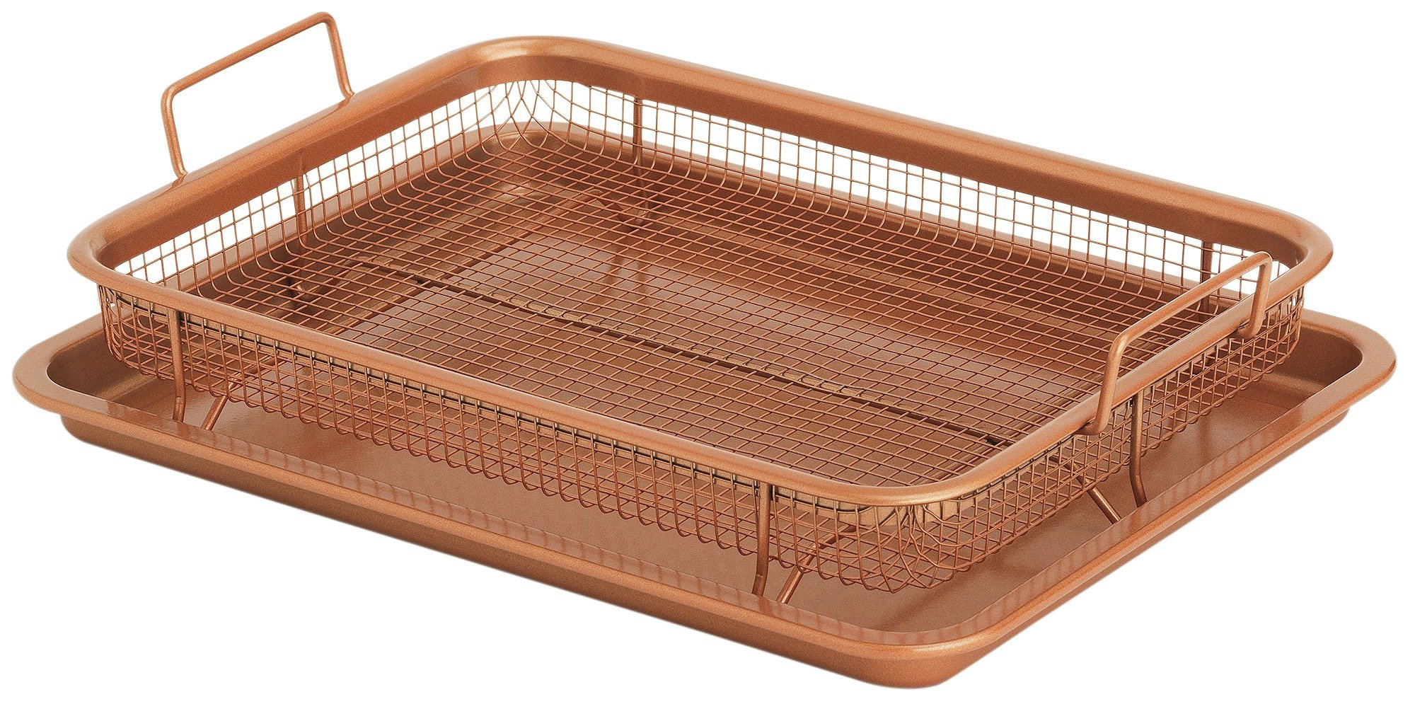 Copper Crisper Elevated Non Stick Oven Baking Tray - 2pc Set