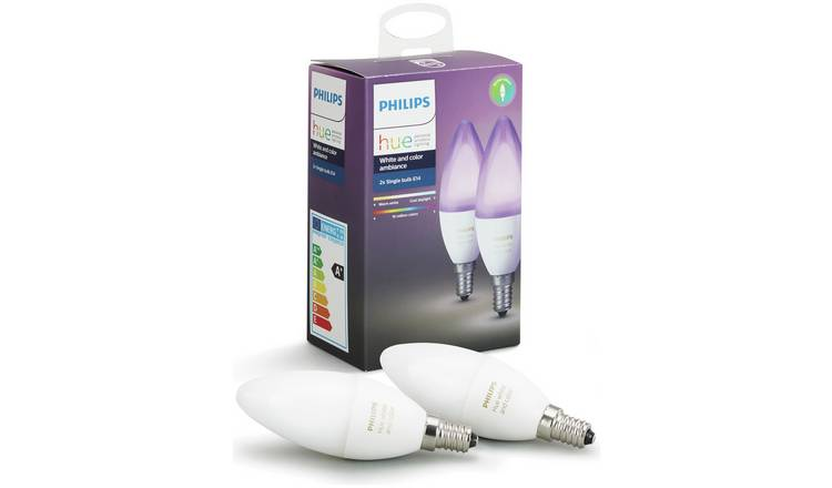 Philips Hue White and Colour Ambience E14 Candle Twin Pack