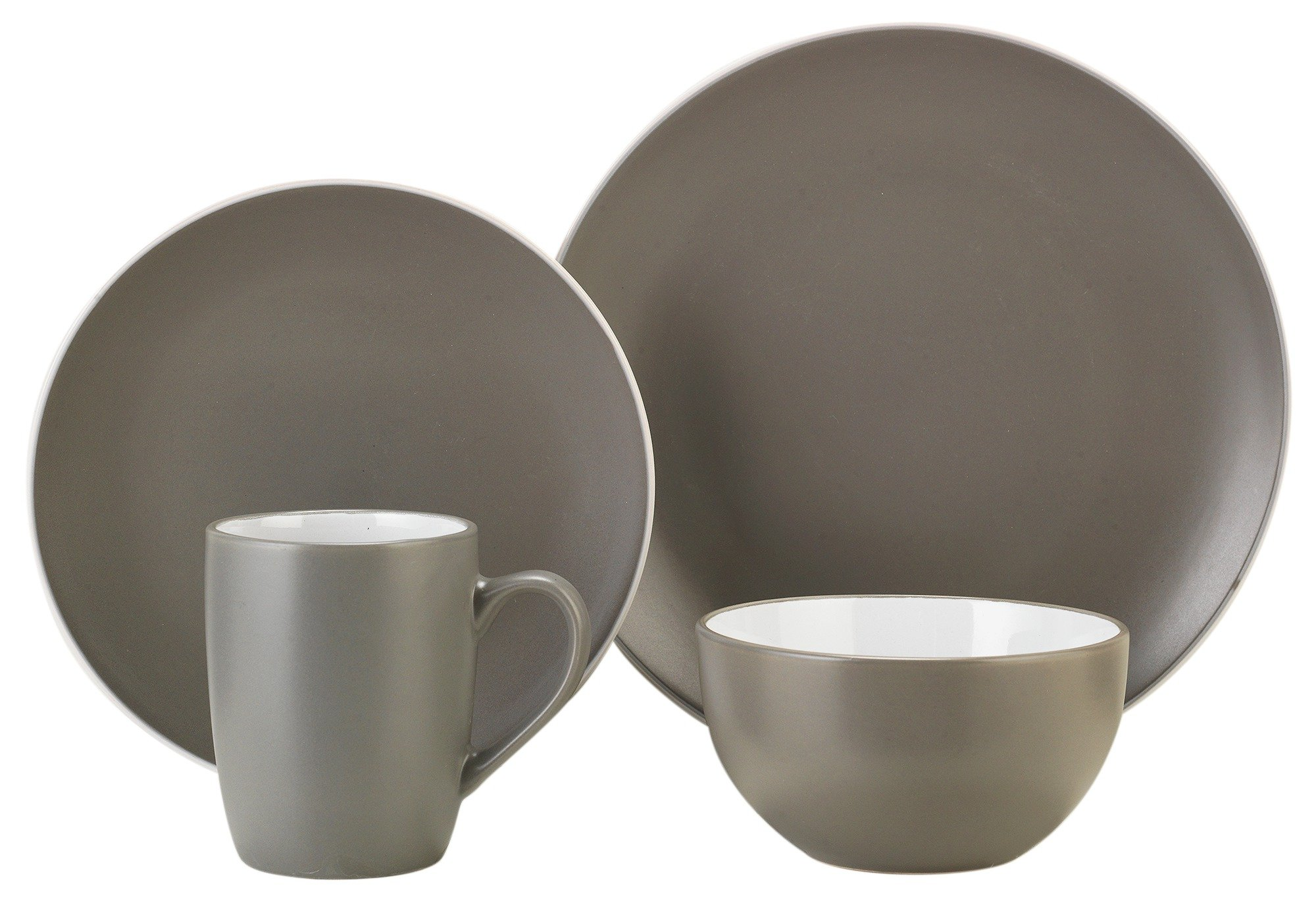 Image of ColourMatch 12 Piece Stoneware Dinner Set - Flint Grey