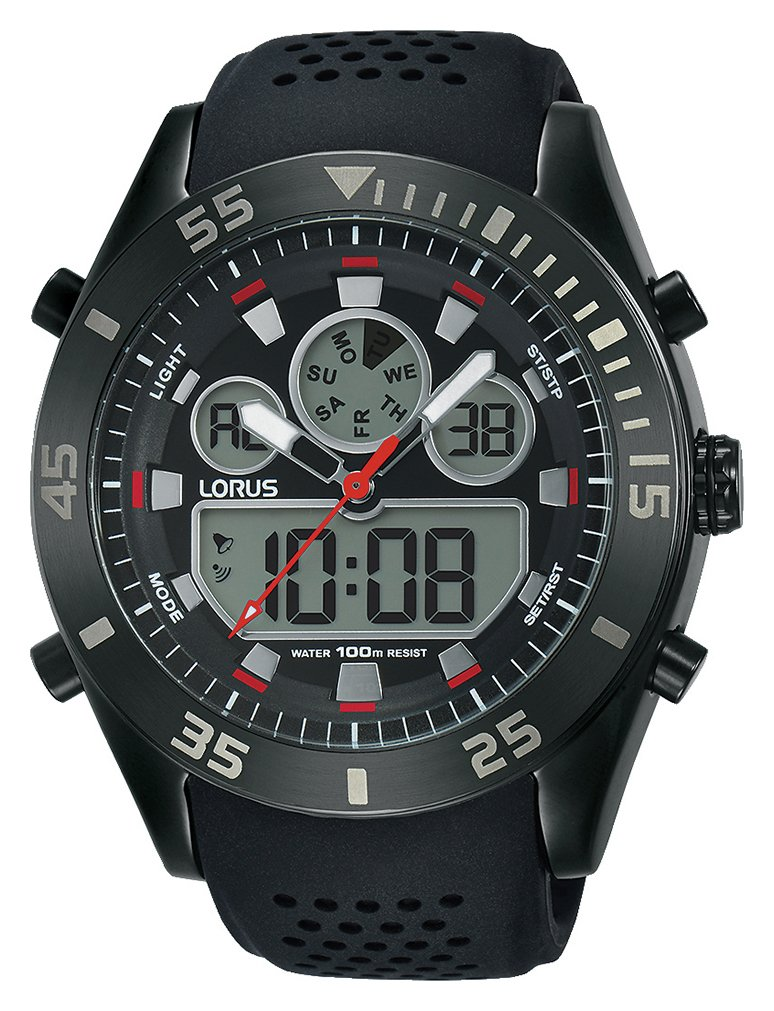 Lorus Men's Black and Red Analogue Digital Watch
