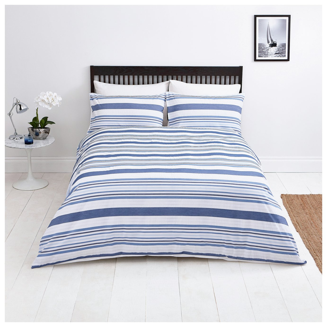 Sainsbury's Home Riviera Seersucker Bedding Set – Kingsize