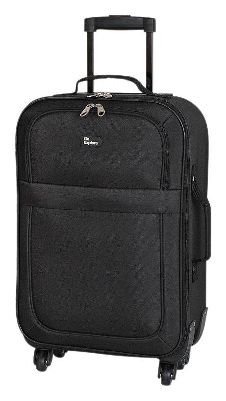 'Go Explore Small 4 Wheel Soft Suitcase - Black